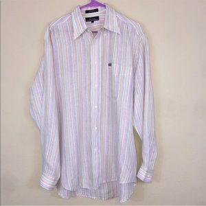 Men's Faconnable Pastel Striped Linen Shirt Medium